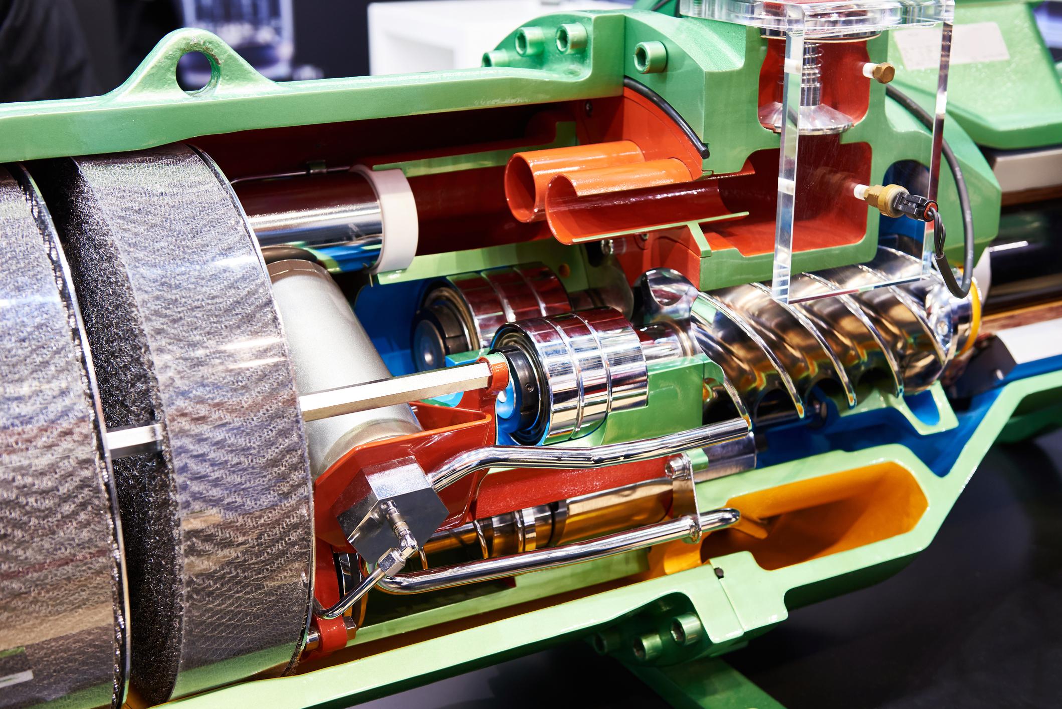 Semi-Hermetic Compact Screw Compressor in cut section